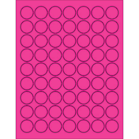 """Office Depot® Brand Labels, LL191PK, Circle, 1"""", Fluorescent Pink, Case Of 6,300"""