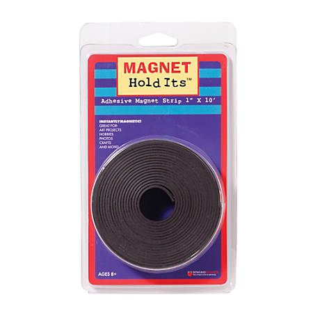 """Dowling Magnets Adhesive Magnet Strip, 1"""" x 10', Black, Pack Of 6 Rolls"""