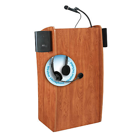 Oklahoma Sound® The Vision Lectern With Sound & Headset Wireless Microphone, Cherry