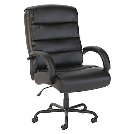Bush Business Furniture Soft Sense Big and Tall High Back Leather Office Chair, Black, Premium Installation