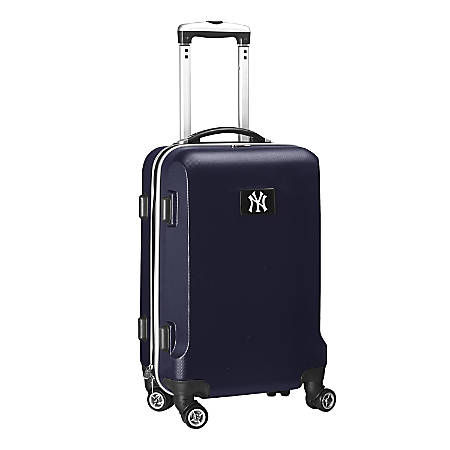 "Denco 2-In-1 Hard Case Rolling Carry-On Luggage, 21""H x 13""W x 9""D, New York Yankees, Navy"