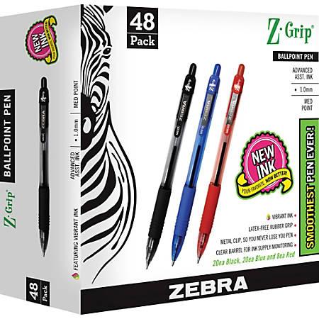Zebra Pen Z-Grip Retractable Ballpoint Pens - Medium Pen Point - 1 mm Pen Point Size - Assorted - Clear Plastic Barrel - 48 / Pack