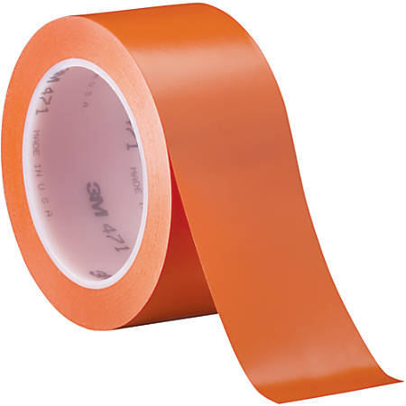 "3M™ 471 Vinyl Tape, 3"" Core, 2"" x 36 Yd., Orange, Case Of 3"