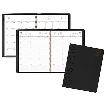 """AT-A-GLANCE® Contemporary Weekly/Monthly Academic Appointment Book/Planner, 8 1/4"""" x 10 7/8"""", 30% Recycled, Black, July 2018 to June 2019"""
