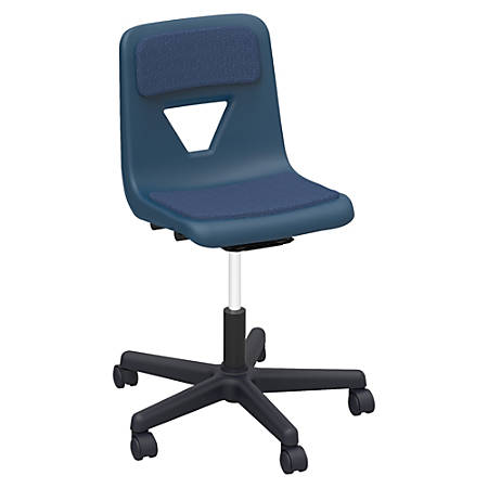 Lorell® Classroom Adjustable-Height Padded Mobile Task Chair, Navy
