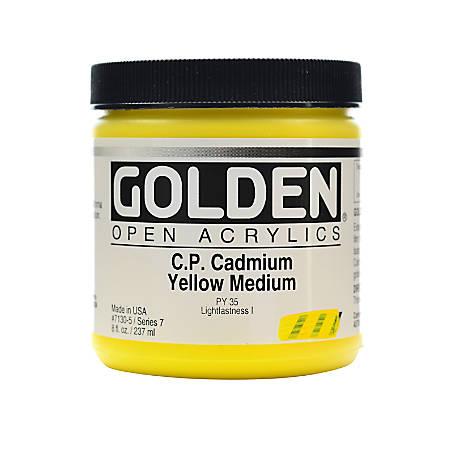 Golden OPEN Acrylic Paint, 8 Oz Jar, Cadmium Yellow Medium (CP)