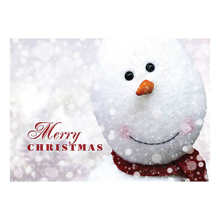 "Custom Full-Color Holiday Cards With Envelopes, 7"" x 5"", Christmas Snowman, Box Of 25 Cards"