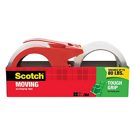 """Scotch® Tough Grip Moving Packing Tape, 3"""" Core, 1.88"""" x 38.2 Yd., Clear, Pack Of 2"""