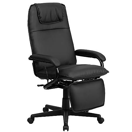 Flash Furniture Leather High-Back Reclining Swivel Chair, Black
