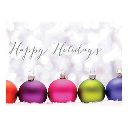 """Custom Full-Color Holiday Cards With Envelopes, 7"""" x 5"""", Colored Ornaments, Box Of 25 Cards"""
