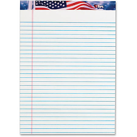 "TOPS American Pride Legal Rule Writing Pad - 50 Sheets - Legal Ruled - 16 lb Basis Weight - 8 1/2"" x 11 3/4"" - 2.4"" x 11.8""8.5"" - White Paper - Ink Resistant, Smooth, Perforated, Acid-free - 12 / Pack"