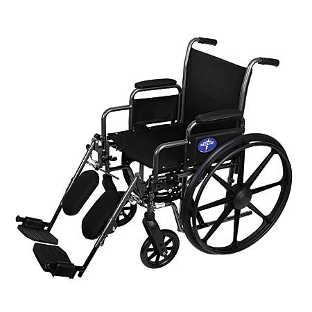 "Medline K1 Basic Wheelchair, Elevating, Removable Arm, 18"" Seat, Gray"