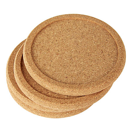 "Office Depot® Cork Coasters, 3/8"" x 4"", Tan, Set Of 4 Coasters"