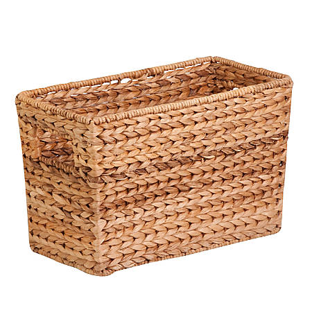 "Honey-Can-Do Large Water Hyacinth Magazine Basket, 15 1/2""L x 5 5/16""W x 10""H, Brown/Natural"