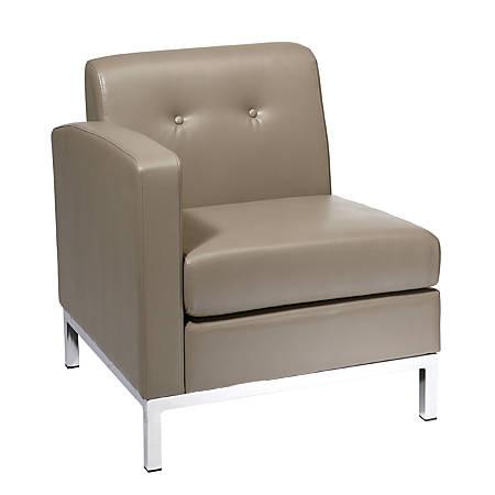 Office Star™ Avenue Six Wall Street Chair, Single Arm LAF, Smoke/Chrome