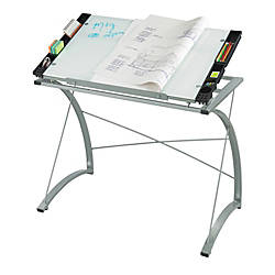 Safco Expressions Glass Top Drafting Table