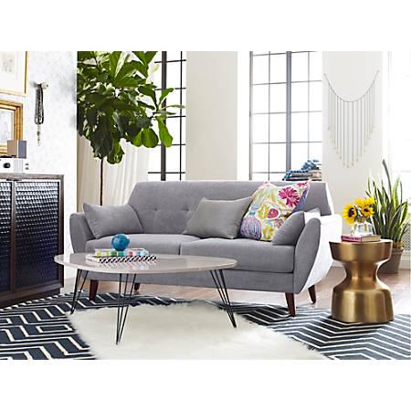 Elle Décor Amelie Mid-Century Modern Sofa, Light Gray/Chestnut