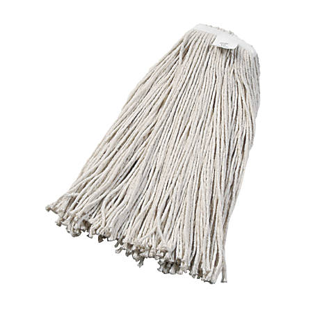 Boardwalk® Cut-End Cotton Wet Mop Head, 97% Recycled, White