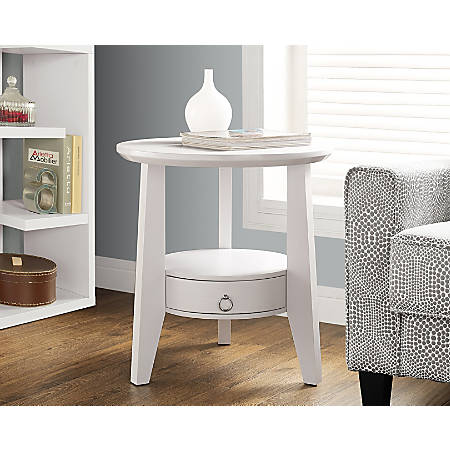 Monarch Specialties Accent Table With Drawer, Round, White