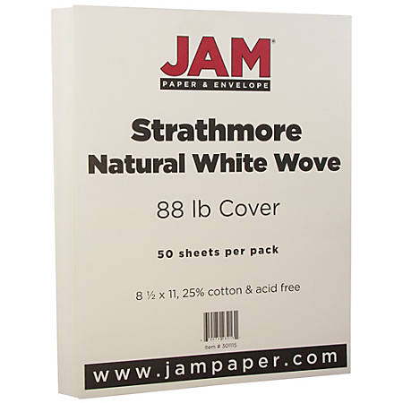 "JAM Paper® Cover Card Stock, 8 1/2"" x 11"", 88 Lb, Strathmore Natural White Wove, Pack Of 50 Sheets"