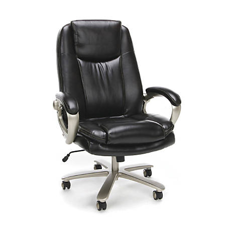 OFM Essentials Big & Tall Leather High-Back Chair, Brown/Bronze Mist