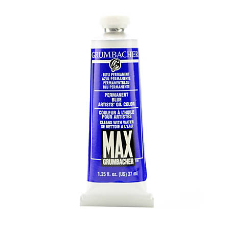 Grumbacher Max Water Miscible Oil Colors, 1.25 Oz, Permanent Blue (Ultramarine Blue), Pack Of 2