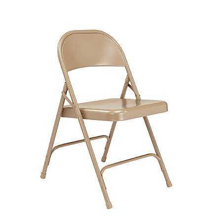 National Public Seating Series 50 Steel Folding Chairs, Beige, Set Of 4 Chairs