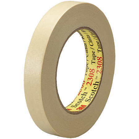 """3M™ 2308 Masking Tape, 3"""" Core, 0.75"""" x 180', Natural, Pack Of 12"""