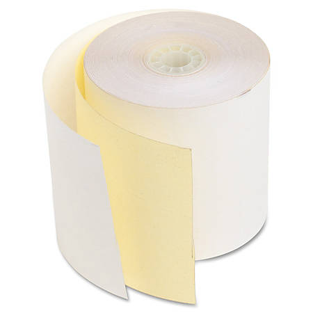 """NCR 2-Ply Carbonless Add & Cash Register Rolls, 2 3/4"""" x 1020"""", Canary/White, Pack Of 10"""