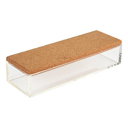 "Office Depot® Medium Acrylic Organizer With Cork Lid, 2""H x 9""W x 3""D, Clear"