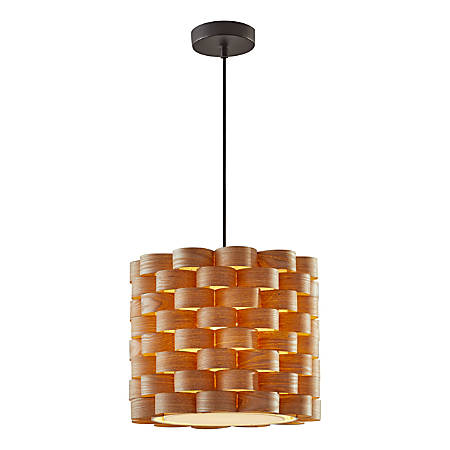 "Adesso® Savannah Pendant Lamp, 13""H, Wood Veneer Shade/Matte Black Base"