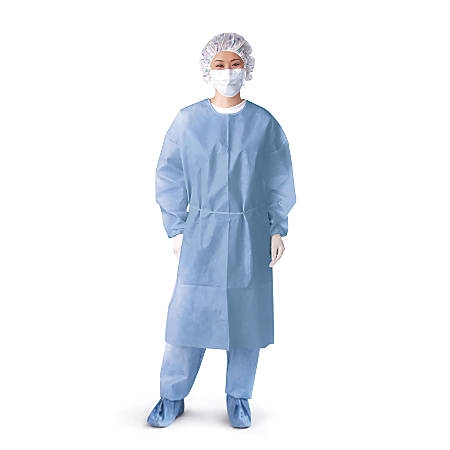 Medline Closed-Back Isolation Gowns, Knit Cuffs, X-Large, Blue, 10 Gowns Per Pack, Case Of 5 Packs