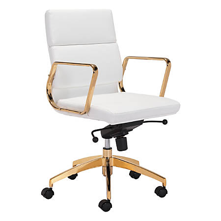 Zuo Modern Scientist Mid-Back Office Chair, White/Gold