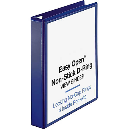 "Sparco Easy-Open Nonstick D-Ring View Binder, 1 1/2"" Rings, Navy"