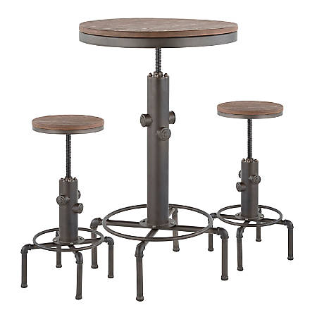 LumiSource Hydra Industrial Table With 2 Stools, Antique Metal/Brown Bamboo