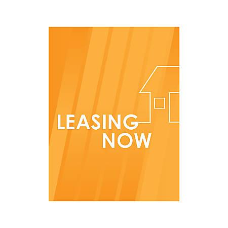 Plastic Sign, Leasing Now Orange House, Vertical