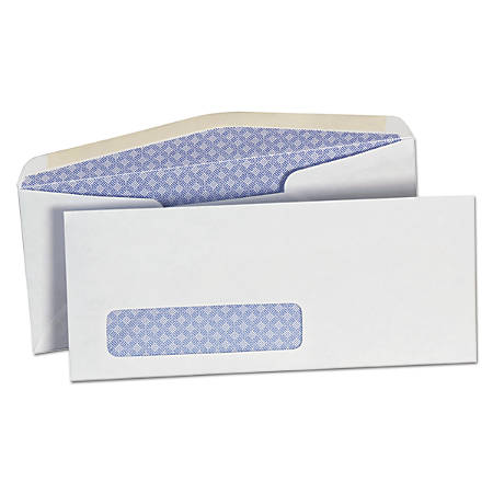 """Universal® Business Envelopes With Gummed Flap, Window And Security Tint, #10, 4 1/8"""" x 9 1/2"""", White, Box Of 500"""