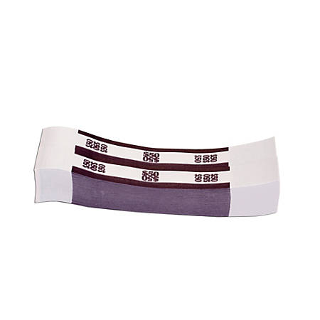 Coin-Tainer® Currency Straps, Deep Purple, $50.00, Pack Of 1,000