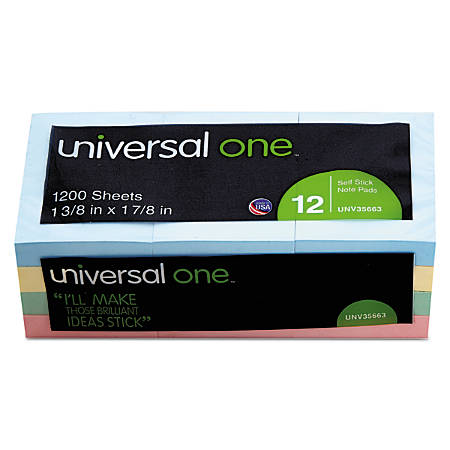 "Universal® Self-Stick Notes, 1 1/2"" x 2"", Assorted Pastel Colors, 100 Sheets Per Pad, Pack Of 12 Pads"