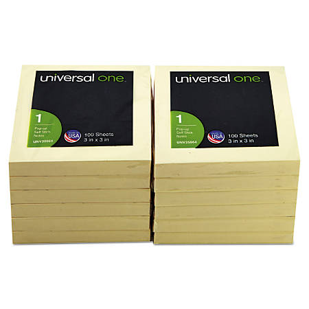 """Universal® Fan-Folded Pop-Up Notes, 3"""" x 3"""", Yellow, 100 Sheets Per Pad, Pack Of 12 Pads"""