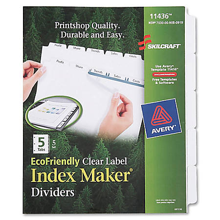 SKILCRAFT® Index Maker 100% Recycled Clear Label Dividers With White Tabs, 5-Tab, Pack Of 5 Sets (AbilityOne 7530-01-600-6981)