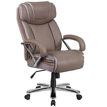Flash Furniture HERCULES Leather High-Back Big And Tall Ergonomic Office Chair, Taupe/Gray