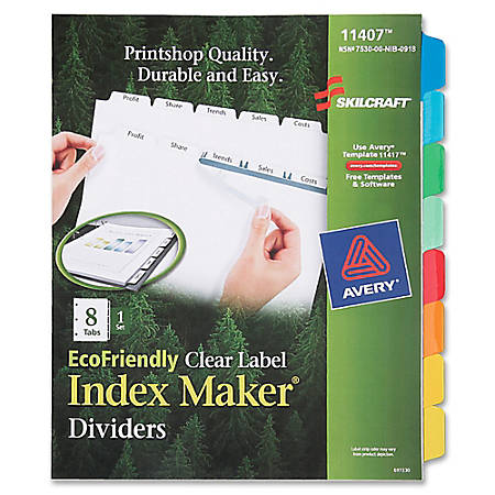 SKILCRAFT® Index Maker 100% Recycled Clear Label Dividers With White Tabs, 8-Tab (AbilityOne7530-01-600-6978)