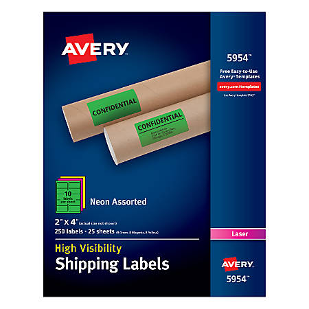 """Avery® High-Visibility Permanent Shipping Labels, 5954, 2"""" x 4"""", Assorted Colors, Pack Of 250"""