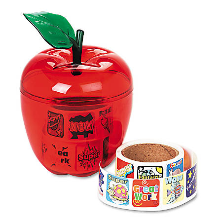 "Reward Stickers In Red Apple Dispenser, 1""H x 1""W, Pack Of 600"