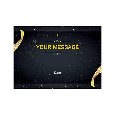 Flat Photo Greeting Card, Gold Ribbons And Sparkles, Horizontal