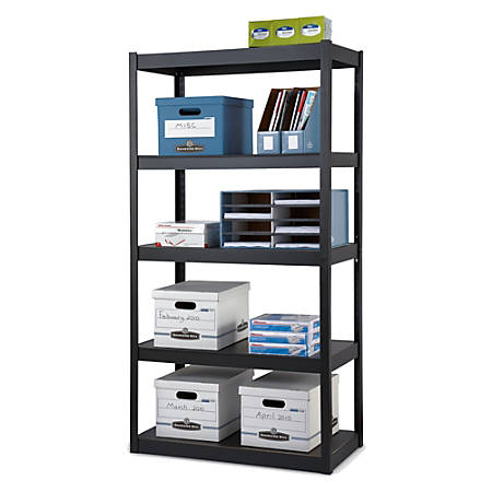 Edsal Heavy Duty Steel Shelving 5 Shelves 36 W X 18 D Black Item 416634