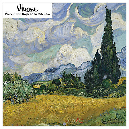 "Vincent van Gogh Square Calendar, 19"" x 24"", Black, January To December 2020"
