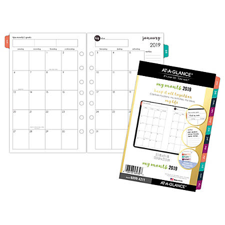 "AT-A-GLANCE® Harmony Monthly Planner Refill, 5 1/2"" x 8 1/2"", January to December 2019"