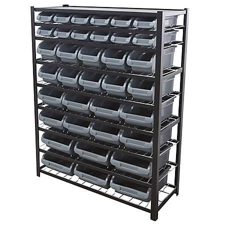 """Edsal Bin Storage Rack, 36 Bins, 57""""H x 44""""W x 16""""D, Black"""